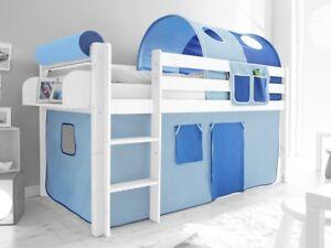 Spielbett Hochbett Kinderbett Kinder Bett Weiß 90x200 cm + Vorhang Blau