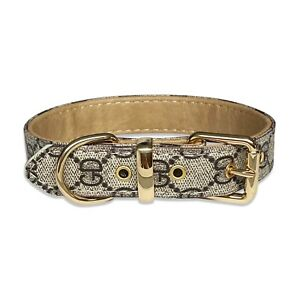 Luxury Leather Designer Gray GD Dog Collar In XS, S, M, L, XL (Optional Leash)