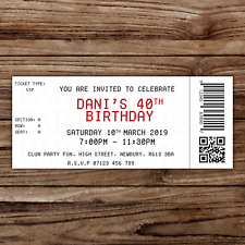 10 *PERSONALISED* vip concert TICKET STYLE milestone birthday PARTY INVITATIONS