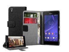 Portafoglio in Pelle Nera Cellulare Sony Xperia T3-CASE COVER ASTUCCIO