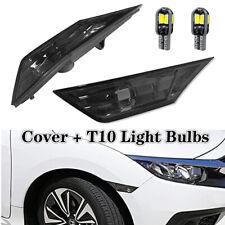 For 2016-2020 Honda Civic Smoke Front Bumper Reflector Side Marker Lights Lamps