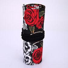 Trousse Toile - Sac de Crayons - 48 Trous - Motif Rose Rouge / Tête