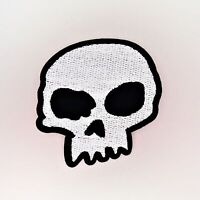 Crooked Skull Patch — Iron On Badge Embroidered Motif — Biker Skulls