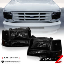 [SINISTER BLACK] 1992-1996 Ford F150 F250 F350 Bronco Bumper Corner Head Lights