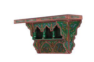 Painted Moroccan shelf, Wall Shelves Floating Shelve Green Dark ,Rustic Floating