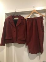 Vintage Red Wool Suit Donald Brooks Houndstooth Women's Black Blazer Skirt As Is