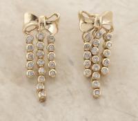 Bow Diamond Drop Earrings 9ct Yellow Gold