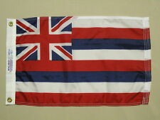 "Hawaii 1845 State Indoor Outdoor Dyed Nylon Boat Flag Grommets 12"" X 18"""