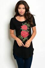 New USA Ladies Black Crochet Rose Western Long Tunic Top Blouse Dress S-M