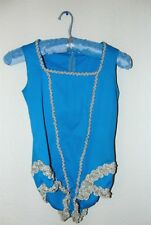 Vintage 1970s Turquoise Colored Dance Wear One Piece set in sz 8