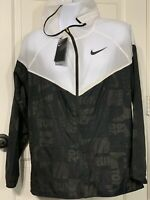 New Nike 2019 Boston Running Jacket Black White Windrunner Mens Sz L Large