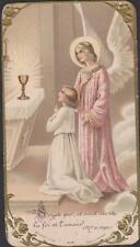 IMAGE PIEUSE HOLY CARD SANTINI  BEL ANGE ROSE ACCOMPAGNANT COMMUNIANTE-AUTEL