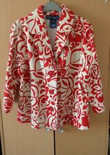 SUSAN GRAVER STYLE  CLASSIC RED & WHITE FLORAL COTTON JACKET (LARGE)