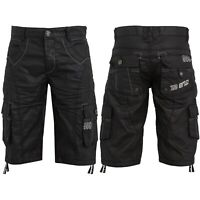 ENZO Designer Mens Denim Cargo Shorts Black Multi Pocket Cotton Combat Pants