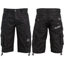 Enzo Hombre de Diseño Cargo Denim Shorts Negros Multibolsillos Combate Algodón