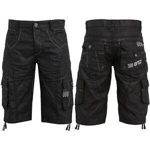 ENZO Designer Mens Denim Cargo Shorts Black Multi Pocket Cotton Combat Pants