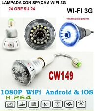 MICROSPIA LAMPADINA SPIA WIFI Spy Camera Spia HD MOTION DETECTION TELECAMERA