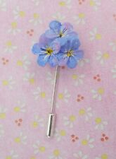 FORGET-ME-NOT PIN Blue Flower Friendship Brooch Masonic Lapel Pin HAND PAINTED