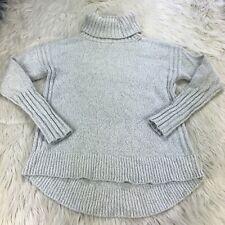 Ann Taylor Women's S Light Gray Turtle Neck Long Line Tunic Sweater