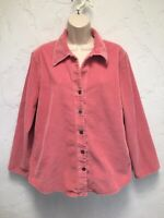 J. Jill Pink Wide Wale Corduroy Embroidered Floral Shirt Jacket Size M