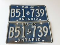 VTG March 1980 Ontario Pair Of License Plates B51 739 Crown Of Canada