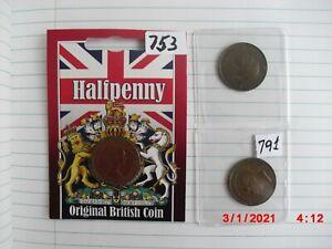 3 UK British coin half penny 1929 -1952 George V 1963 Queen Elizabeth II # 753