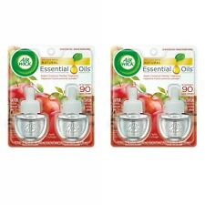 2x 2pk Air Wick Essential Oils Air Freshener Refill Apple Cinnamon Medley 0.67oz