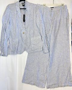 TAHARI Women's Blue White Stripe Linen Wide Leg Pant Suit Sz. 14