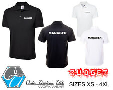 MANAGER Polo Shirt Black Bar Club WorkWear Doorman Bouncer Staff Guard XS-4XL