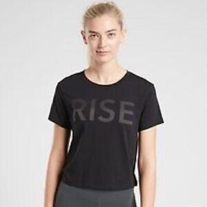 Athleta RISE Crop Top T-Shirt Short Sleeve Sz M Black Casual Training Modal