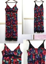 Moda Womens Dress Maxi Tropical Floral Strap Black Red  Size 20 New $49