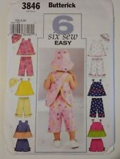 Butterick 3846 Size NB S M Infants Top Shorts Pants Hat