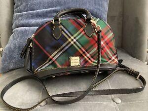 Dooney & Bourke Black Blue Red Green Tartan Plaid Bitsy Bag Zip Satchel NWT