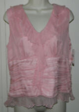 NEW Women WD. NY  Ruffle 100% Silk Solid Pink Sleeveless Cocktail Party 10 $43