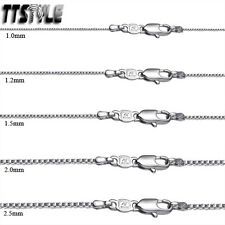 TT 18K White Gold Filled Box Chain Necklace Width 0.8-2mm Length 35-70cm CF103SS