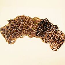 6PC Handmade Beaded Gold Colors Stretch Elastic Bracelets WHOLESALE LOT 6 Colors