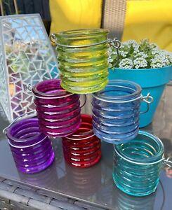6 Beehive Multi-coloured Glass Lantern Garden Hanging Tea Light Candle Holders
