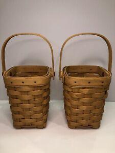 1998 Longaberger American Cancer Society Basket Handle Lot Pair