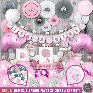 377 piece - Baby Shower Decorations for Girl by RainMeadow, Elephant Theme