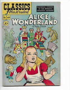 "CLASSICS ILLUSTRATED 49 - HRN 47 - F/VF 7.0 - ""ALICE IN WONDERLAND"" (1948)"