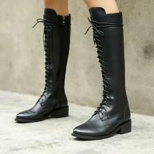 Women Mid Calf Knee High Combat Boots Round Toe Riding Outdoor Lace Up Shoes US