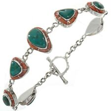 Inlay Tennis Bracelet Average Size Turquoise Sterling Silver Spiny Oyster