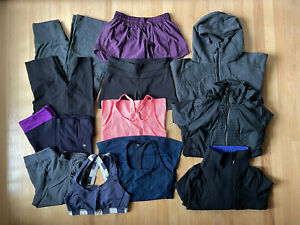 Lululemon Lot Of Size 8 High Waisted Leggings Crop Scuba Shorts Tank Bra Jacket