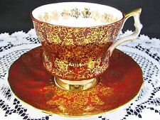 ROYAL WINDSOR GARNET RED GOLD LEAF CHINTZ TEA CUP AND SAUCER