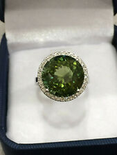 CERTIFIED 9.95 Ct Very High Quality Green Tourmaline Ring 18K Gold and Diamonds