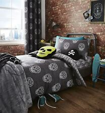 Geometric Skulls Distressed Grey White Cotton Blend Double Duvet Cover