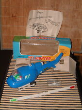 NOS VINTAGE BATTERY OPERATED WHIRLING LIGHTED BLADES HELICOPTER W/BOX ~ WORKING!