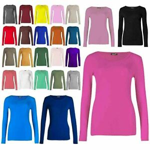 Womens Ladies Long Sleeve Stretch Plain Round Scoop Crew Neck T Shirt Top 8-26