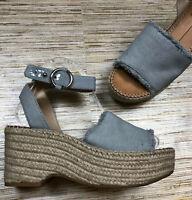 VV-48 Dolce Vita platform jute wedge sandal heels CHAMBRAY BLUE size 7.5 uec