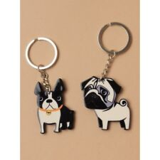 Pack of 2 French Bulldog and Pug Plastic Keyrings Keychains Stocking Filler Gift